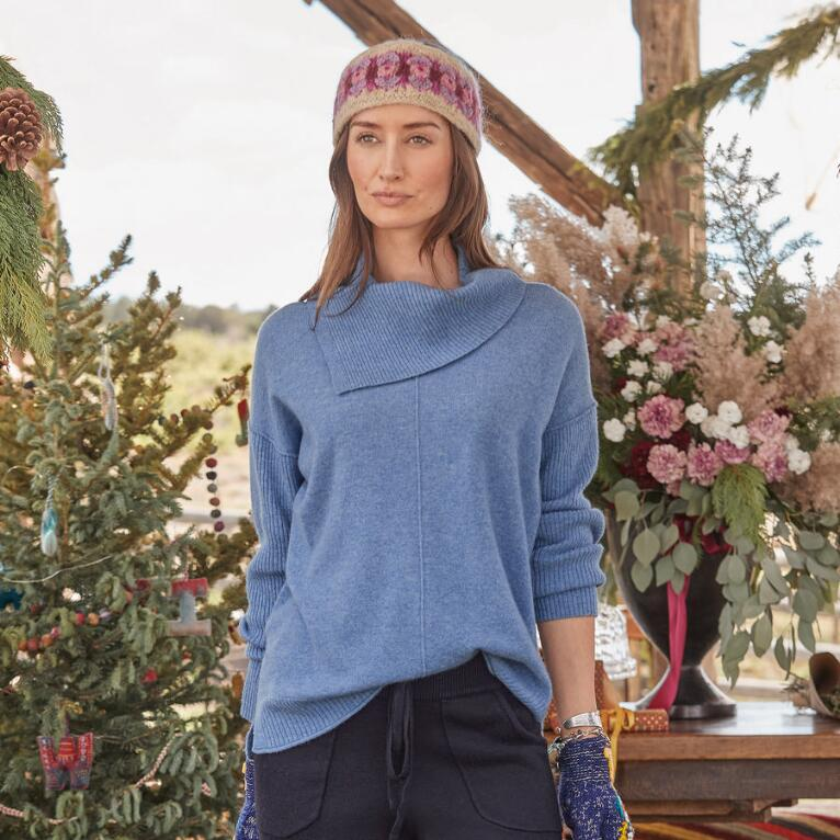ENVELOPE NECK CASHMERE SWEATER - PETITES