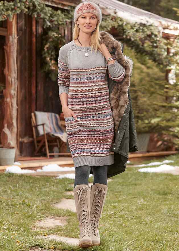 ELISE LIGHTHOUSE SWEATER DRESS - PETITES