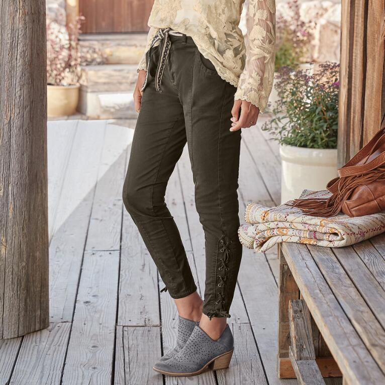 ANKLE DETAIL LACE UP PANTS