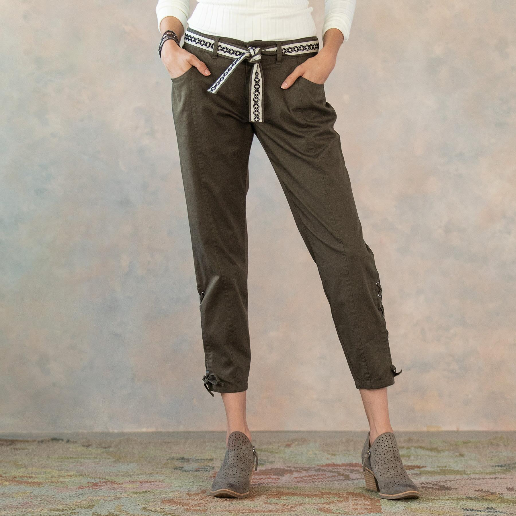 ANKLE DETAIL LACE UP PANTS: View 3