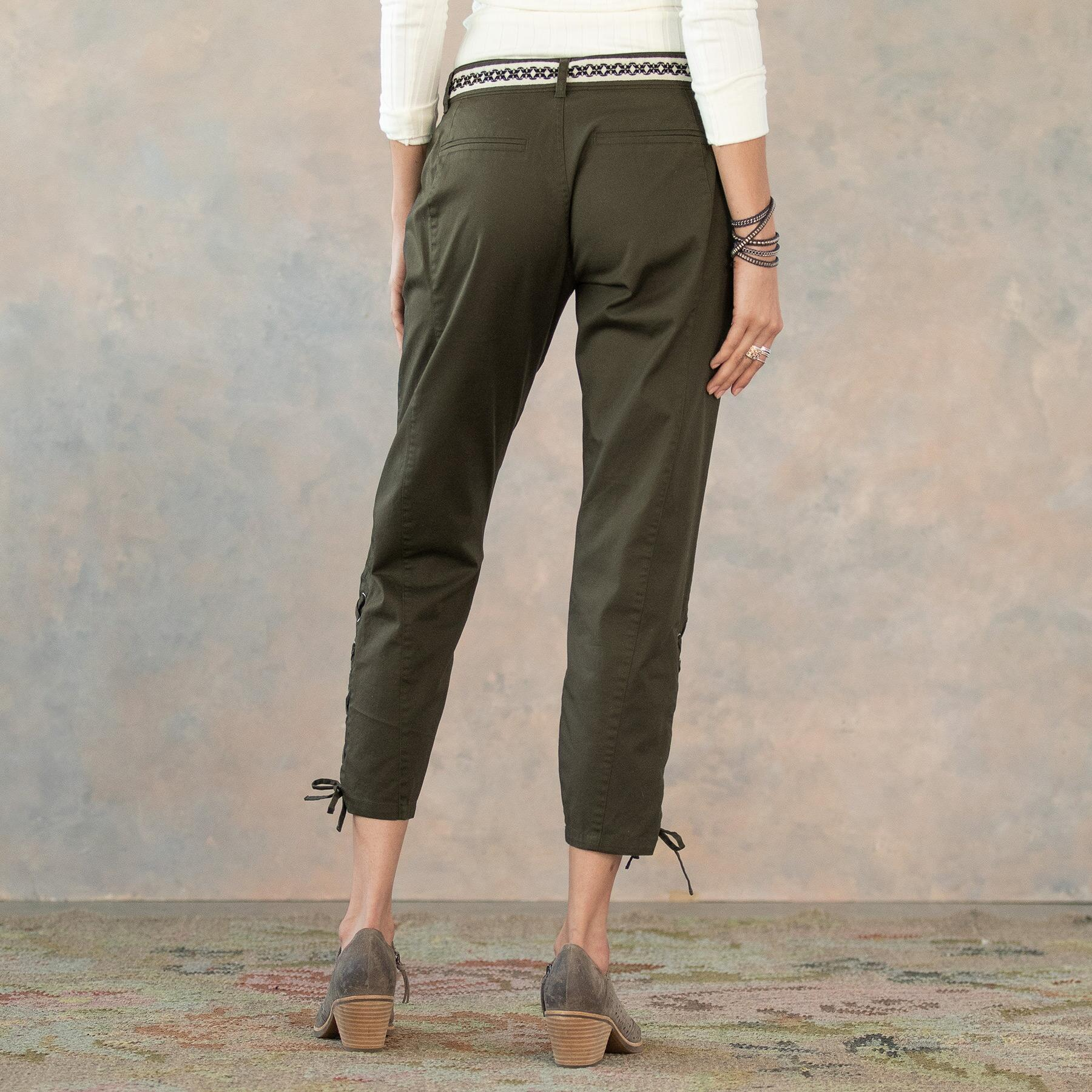 ANKLE DETAIL LACE UP PANTS: View 4