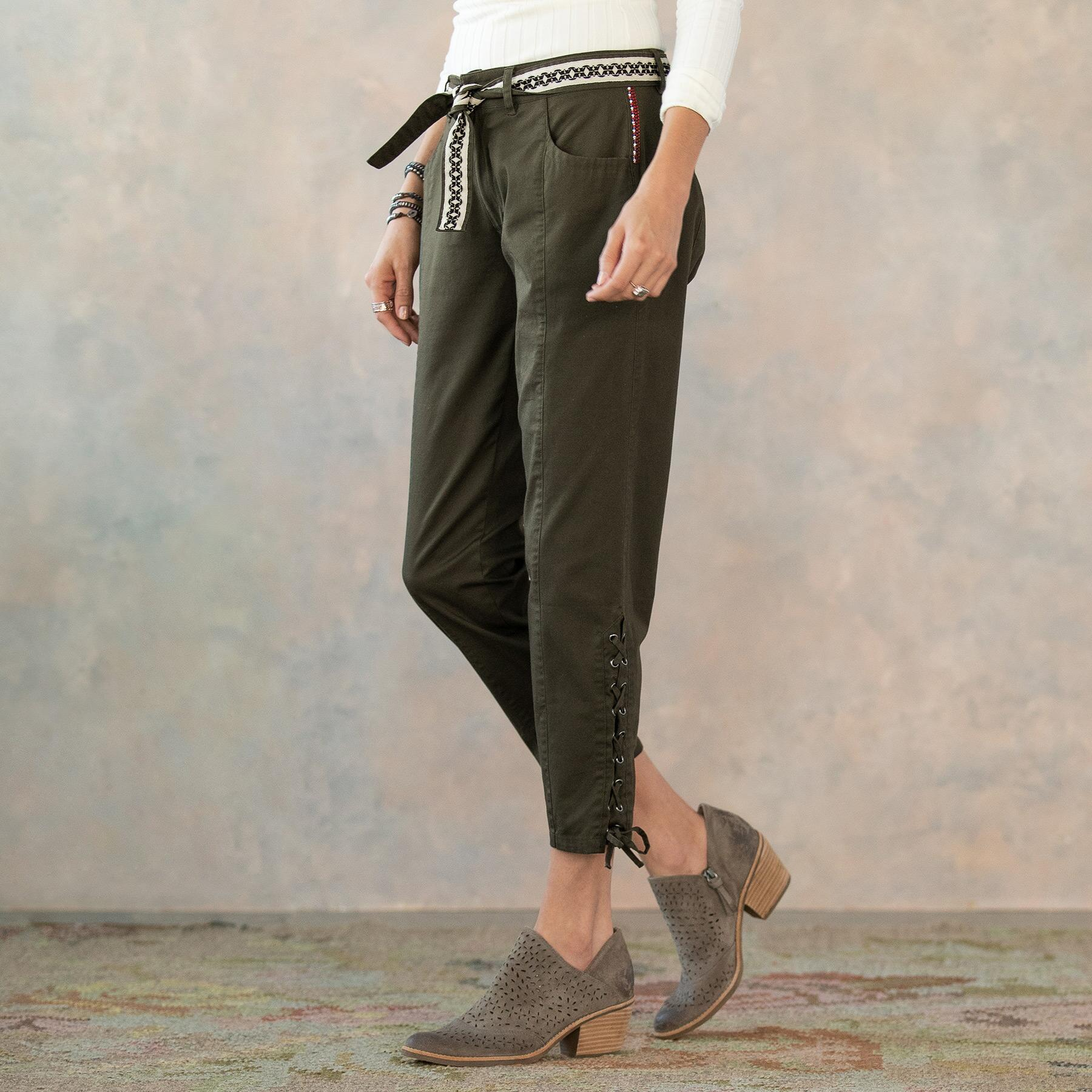 ANKLE DETAIL LACE UP PANTS: View 5