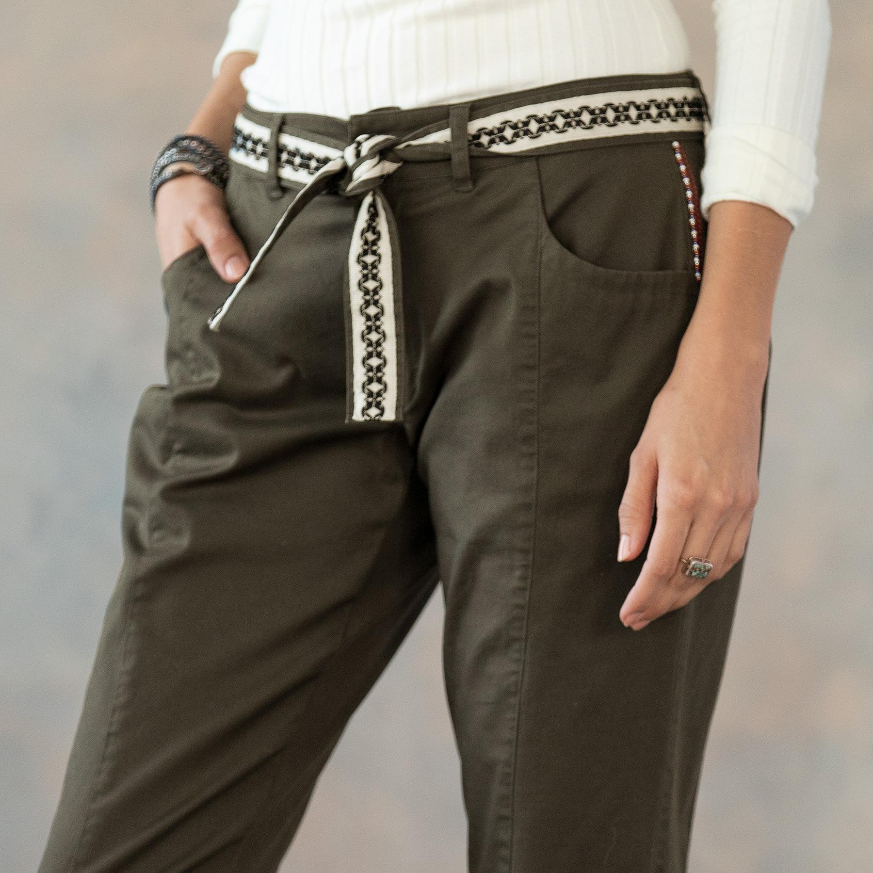 ANKLE DETAIL LACE UP PANTS: View 6