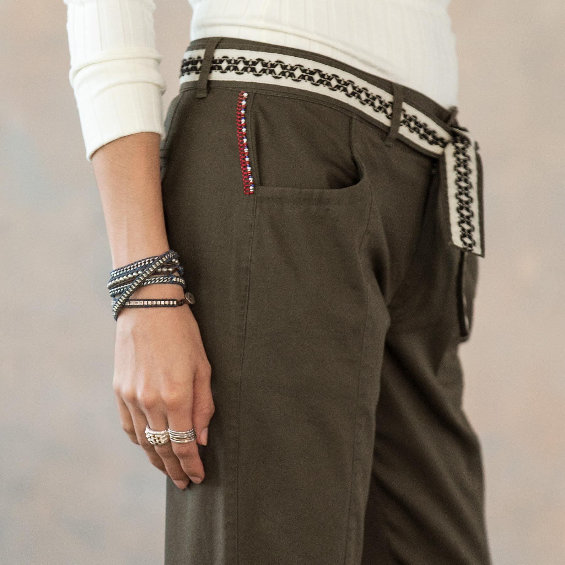 ANKLE DETAIL LACE UP PANTS: View 7