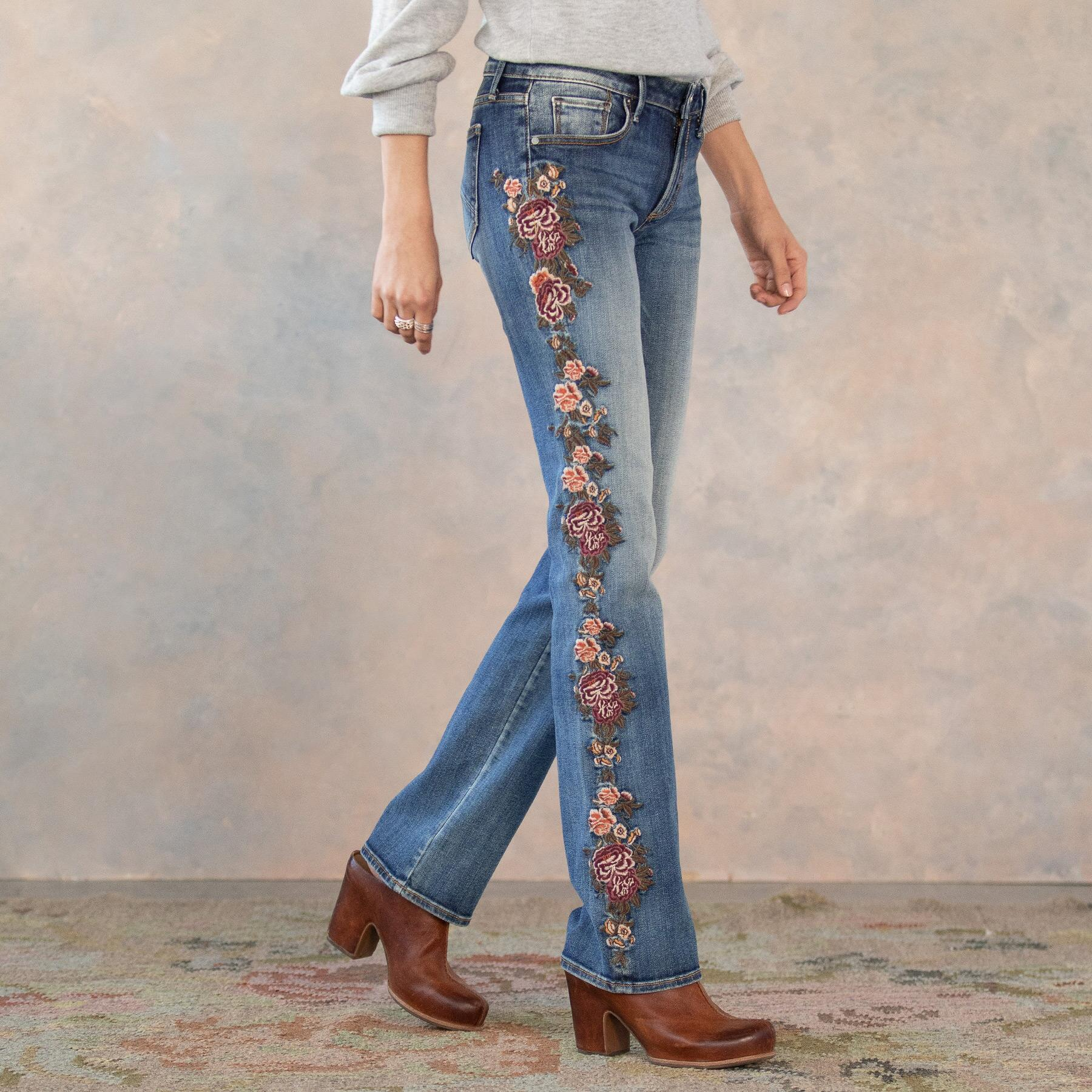 KELLY CASCADING ROSES JEANS: View 1