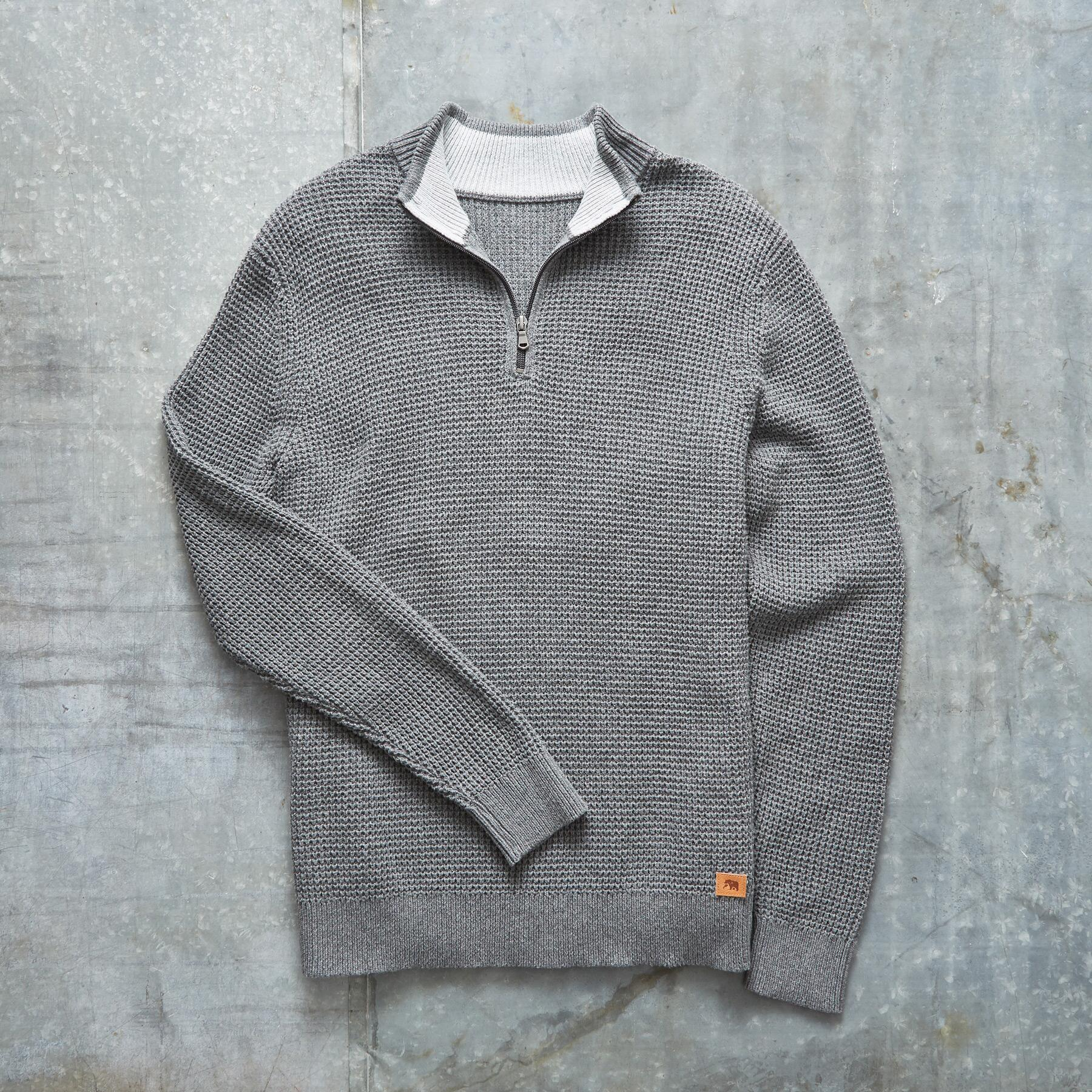 WAFFLE KNIT 1/4-ZIP PULLOVER: View 2