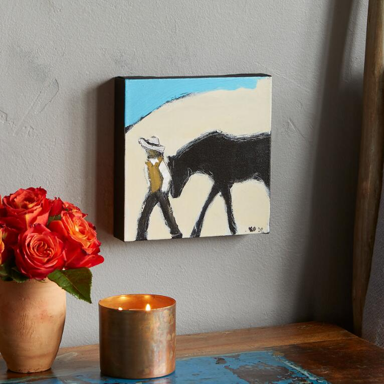 MAN AND HORSE PAINTING
