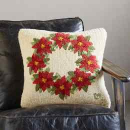 POINSETTIA WREATH PILLOW