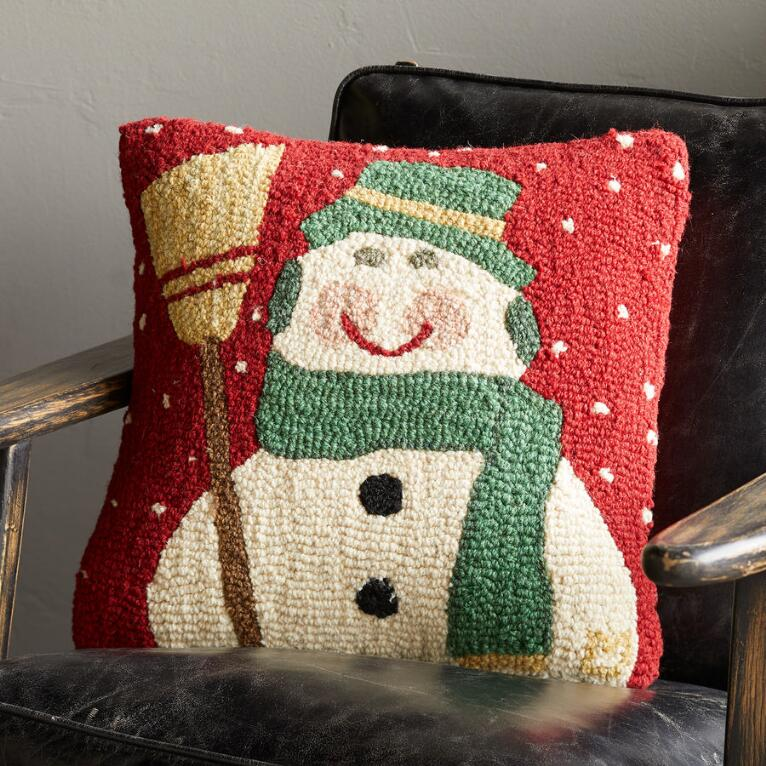 SNOWMAN HANDHOOKED PILLOW