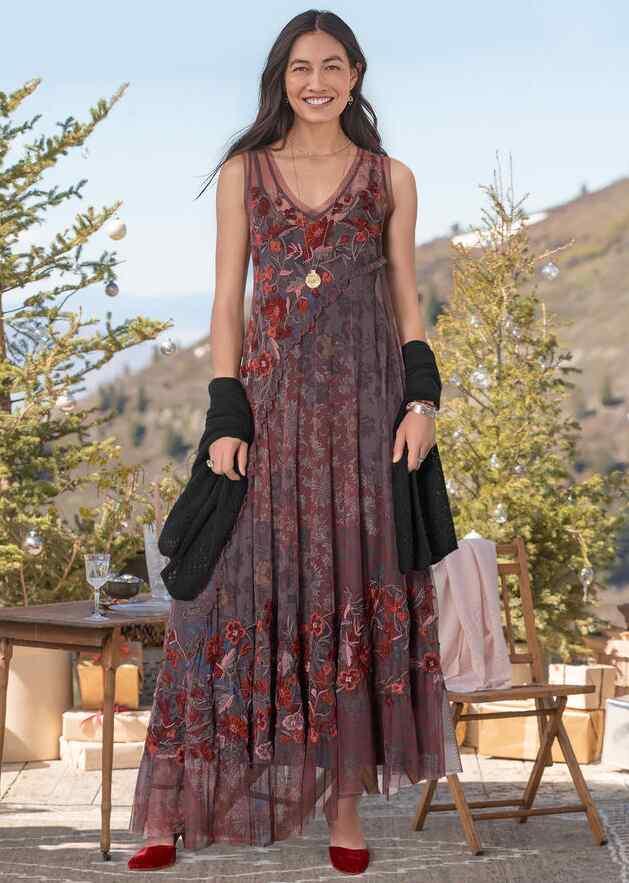 LYOIRE PRINT MESH DRESS