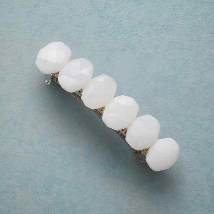 WHITE AGATE GEMSTONE BARRETTE