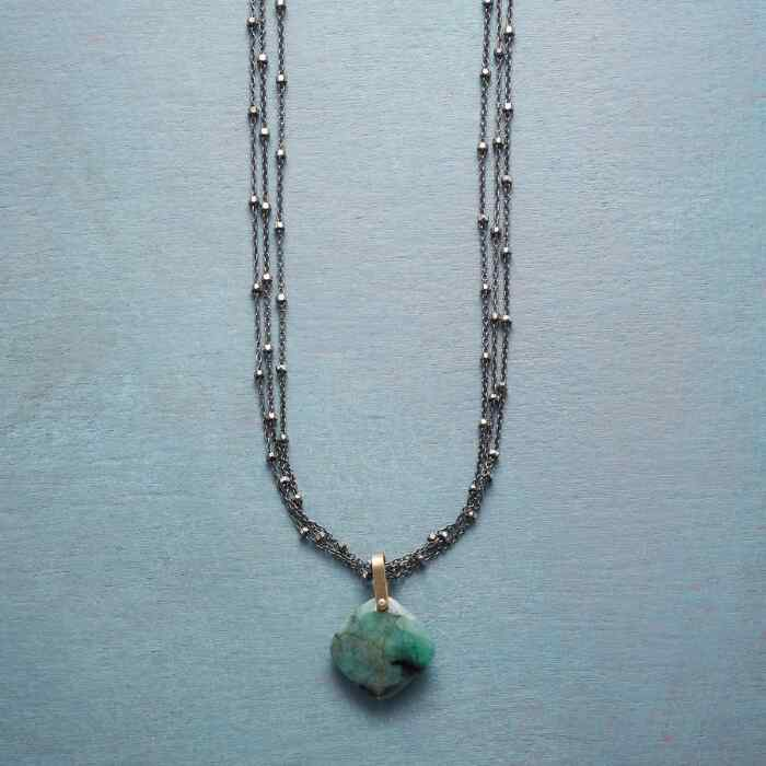 EMERALD CUSHION NECKLACE