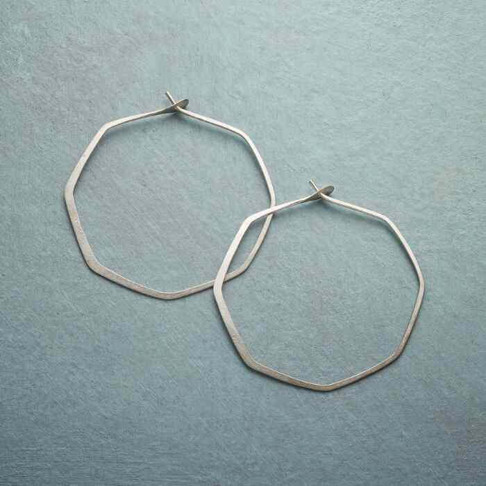 STERLING SILVER BEND THE RULES HOOP EARRINGS