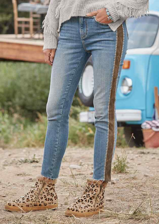 SUEDE STRIPE JACKIE HIGH RISE JEANS