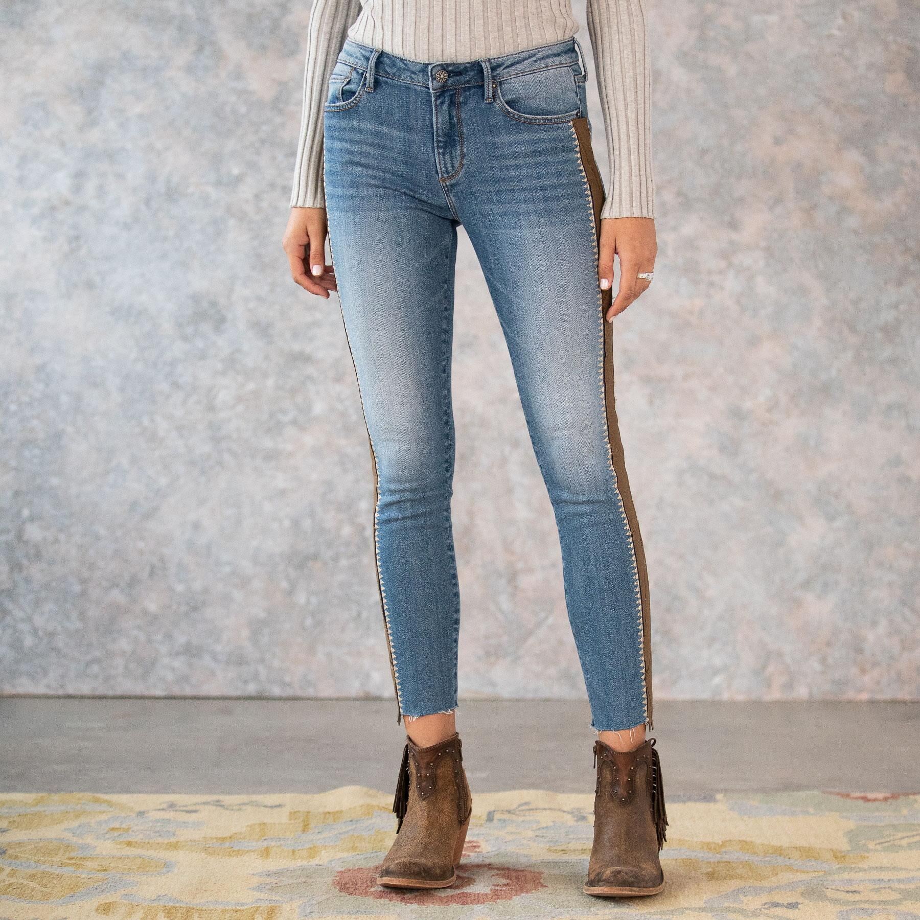SUEDE STRIPE JACKIE HIGH RISE JEANS: View 3