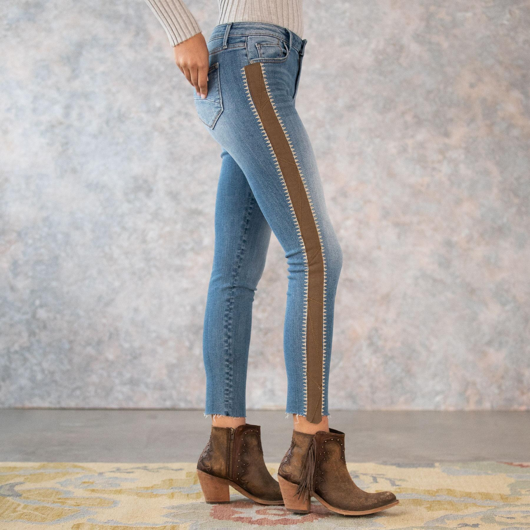 SUEDE STRIPE JACKIE HIGH RISE JEANS: View 4