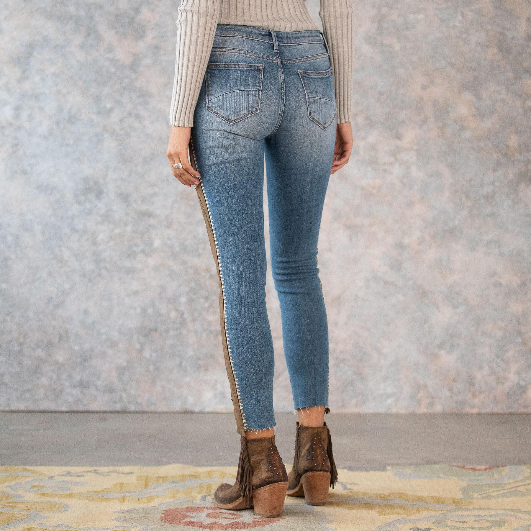 SUEDE STRIPE JACKIE HIGH RISE JEANS: View 5