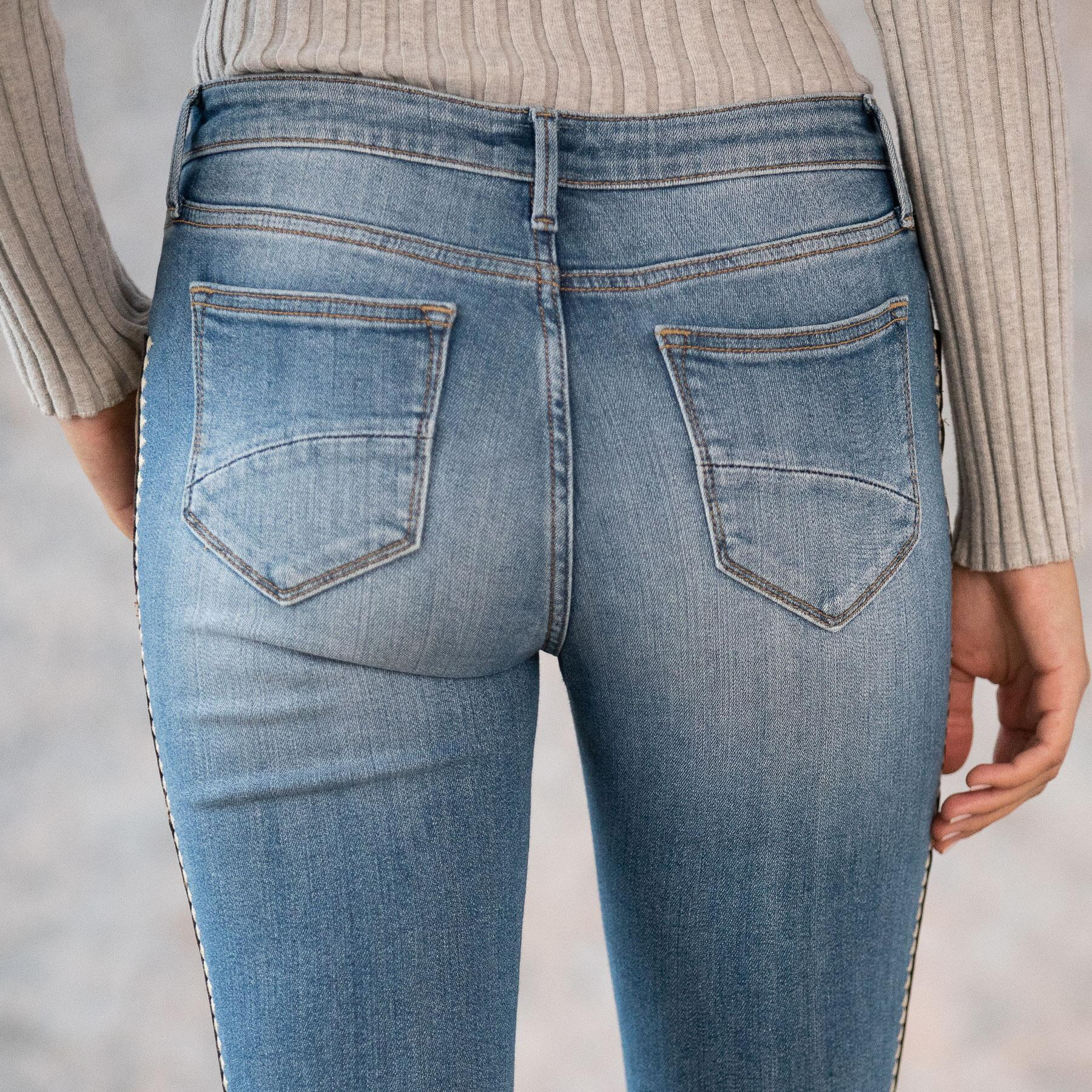 SUEDE STRIPE JACKIE HIGH RISE JEANS: View 7