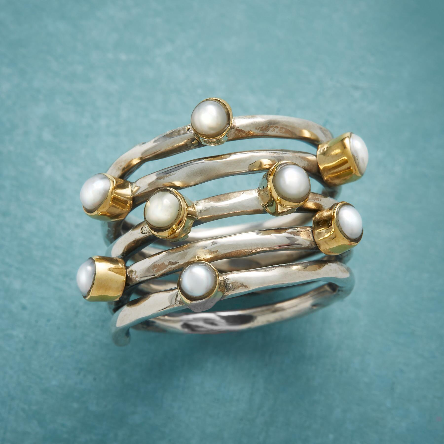 COILED PEARL RING: View 1