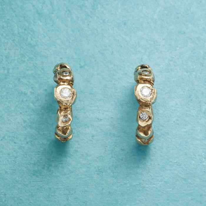 TRIPLE DIAMOND HOOP EARRINGS