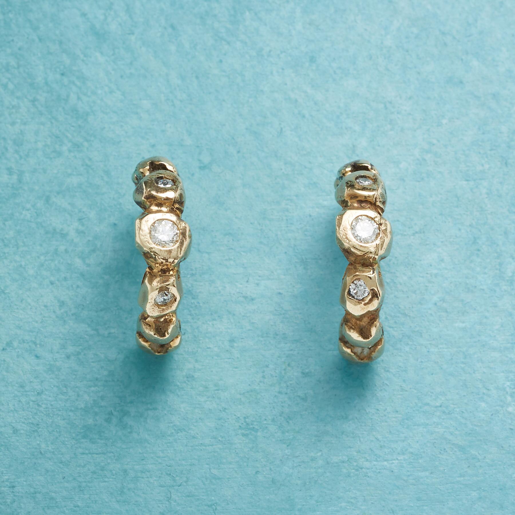 TRIPLE DIAMOND HOOP EARRINGS: View 1