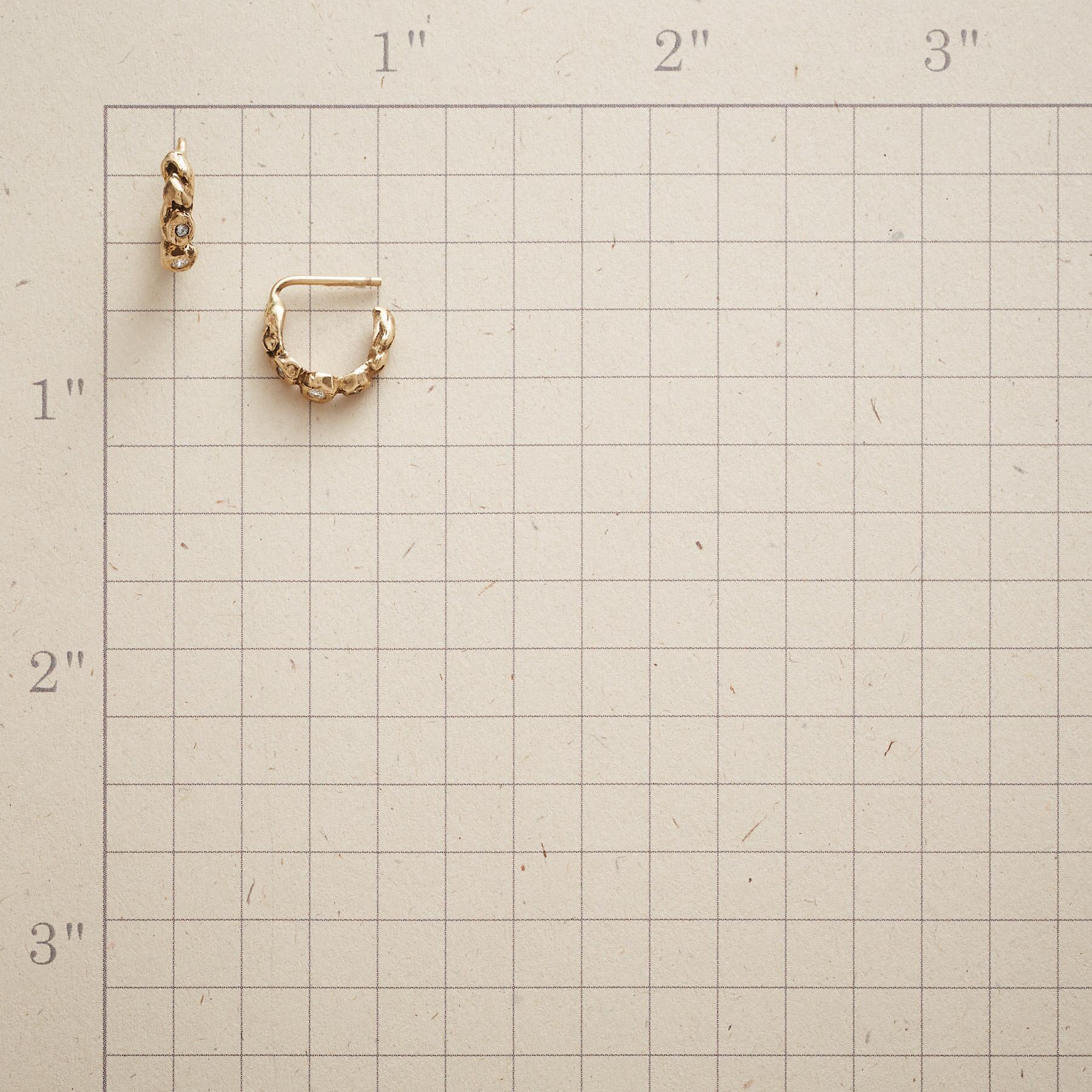 TRIPLE DIAMOND HOOP EARRINGS: View 2