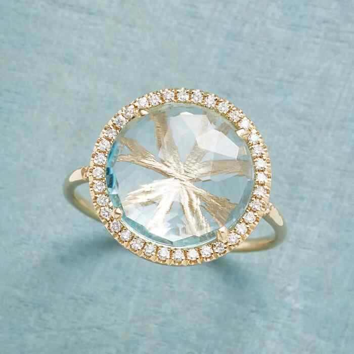 DIAMOND HALO TOPAZ RING