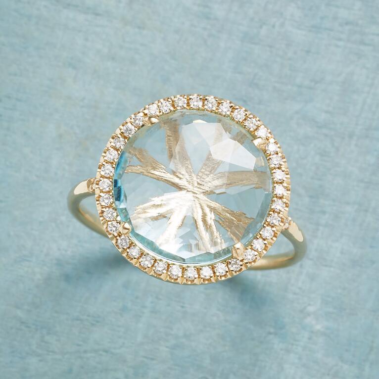 DIAMOND HALO TOPAZ RING