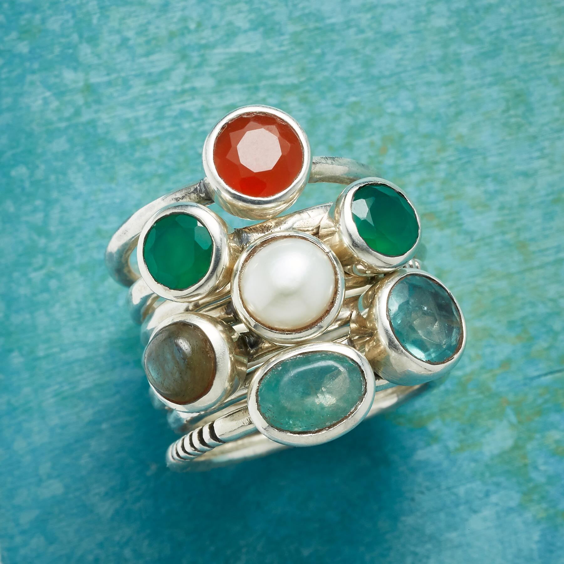 MULTIPLES OF SEVEN RINGS, SET OF 7: View 1