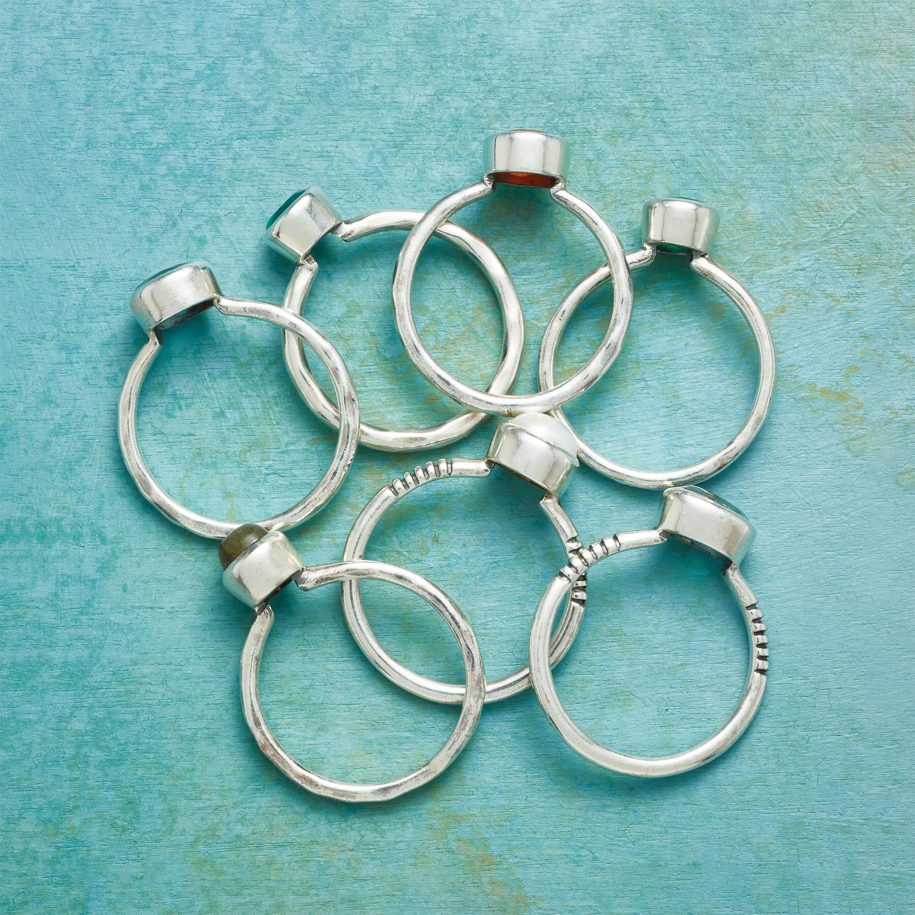 MULTIPLES OF SEVEN RINGS, SET OF 7: View 2