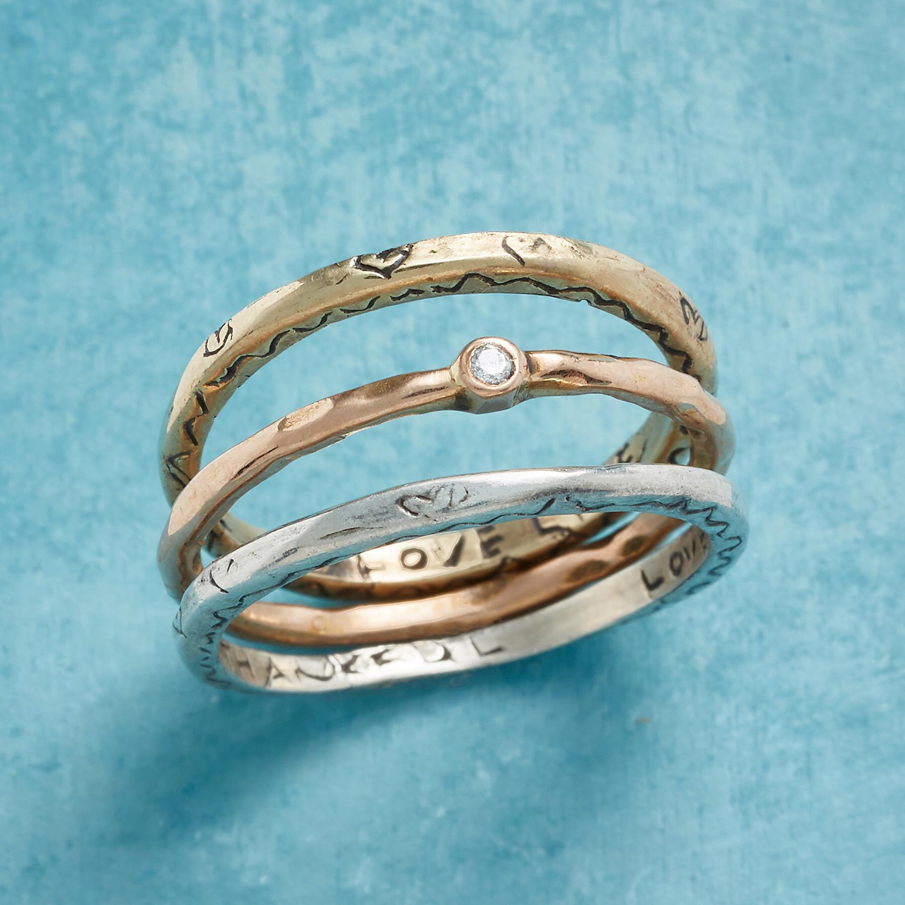 LOVE & GRATITUDE RINGS, SET OF 3: View 1