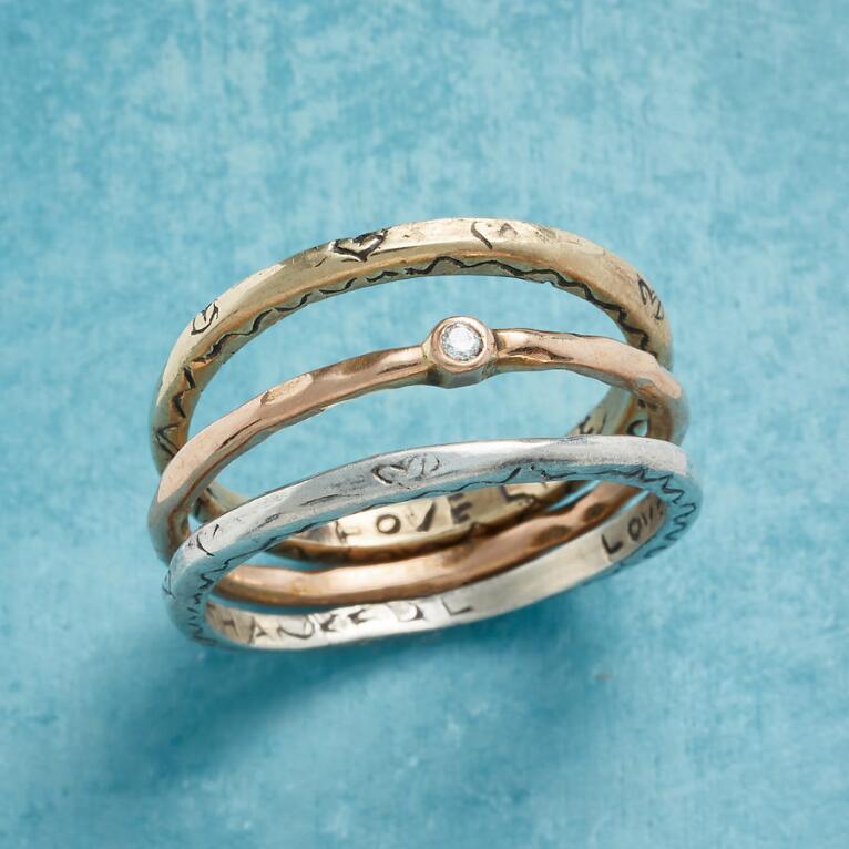 LOVE & GRATITUDE RINGS, SET OF 3