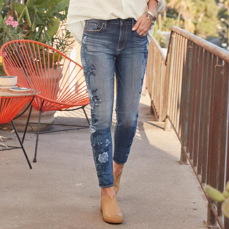 JACKIE BLUE FLORAL HIGH RISE ANKLE JEANS