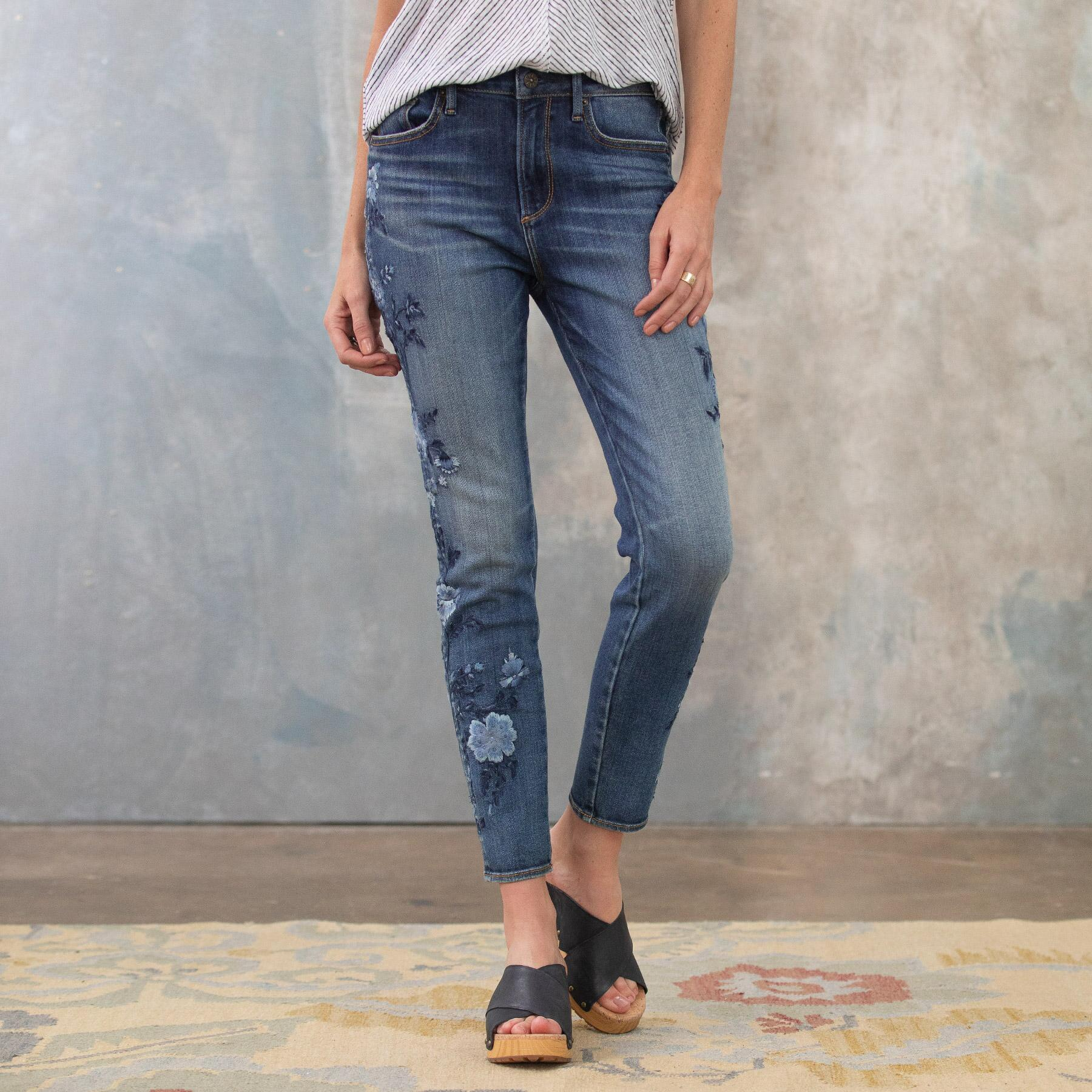 JACKIE BLUE FLORAL HIGH RISE ANKLE JEANS: View 2