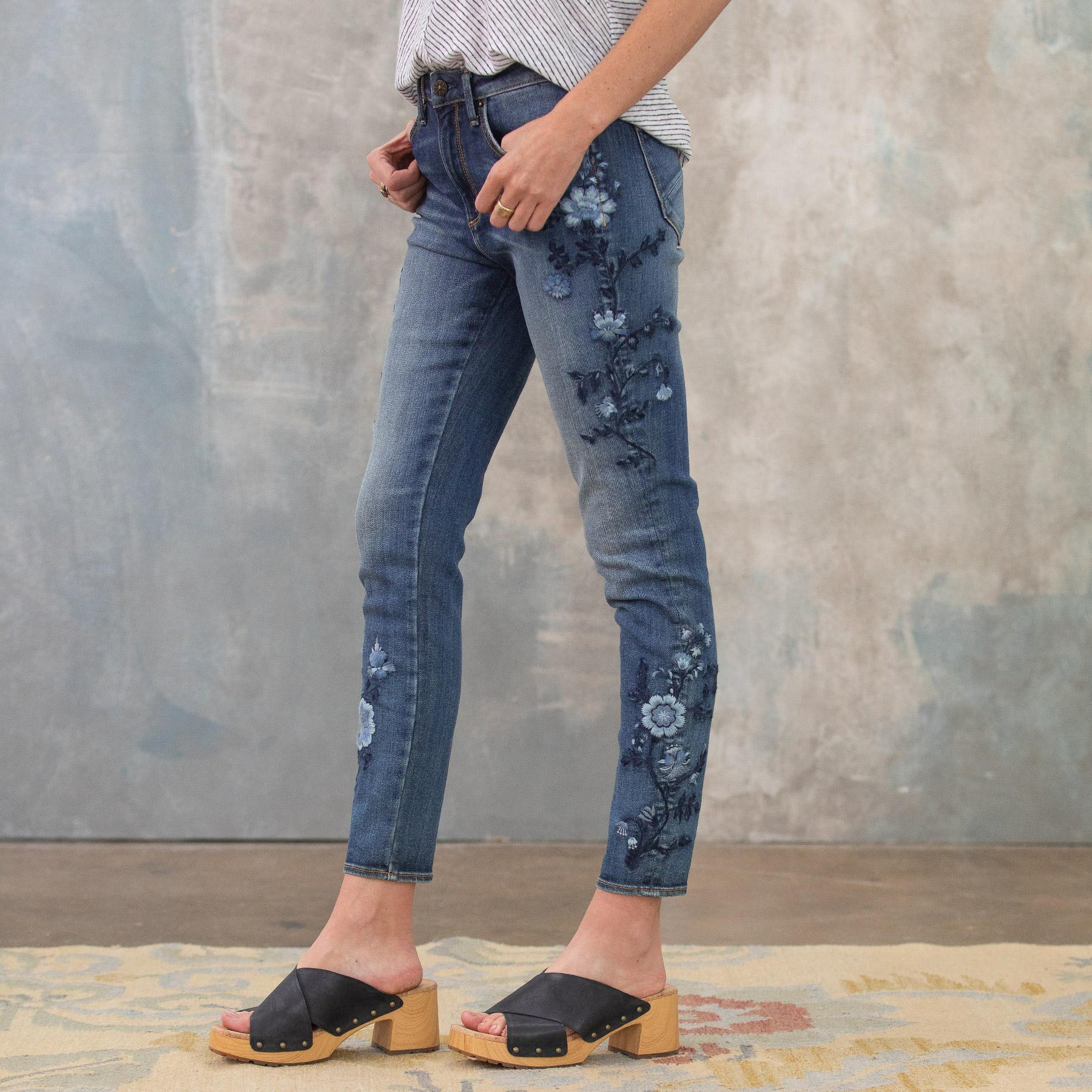JACKIE BLUE FLORAL HIGH RISE ANKLE JEANS: View 3