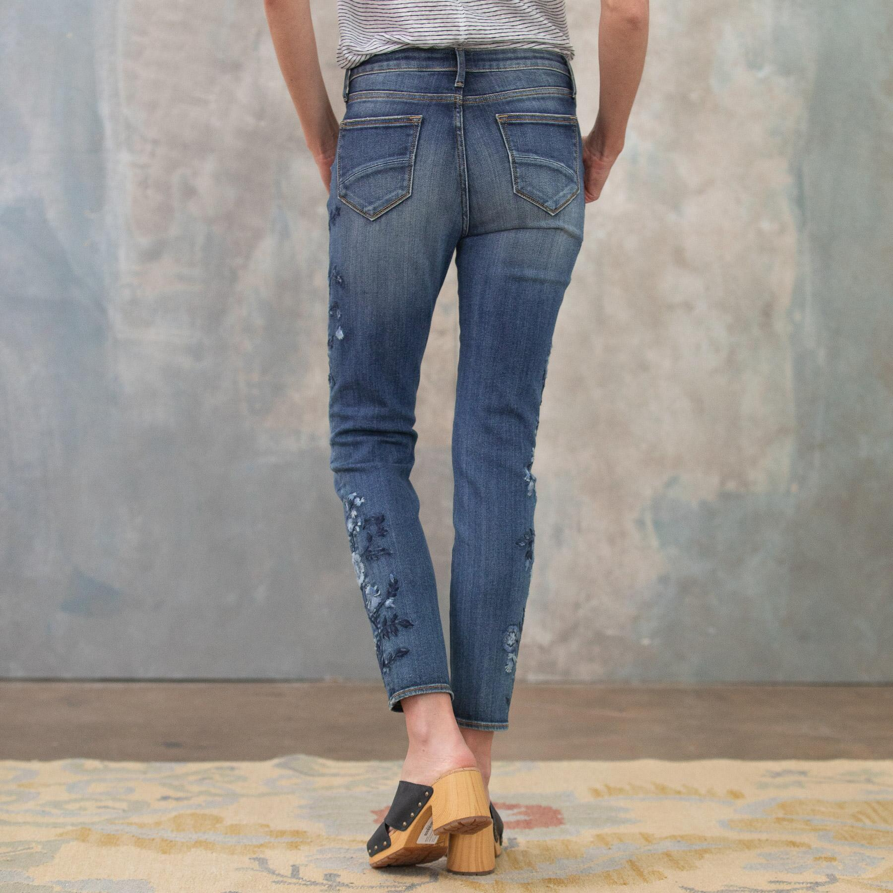 JACKIE BLUE FLORAL HIGH RISE ANKLE JEANS: View 5