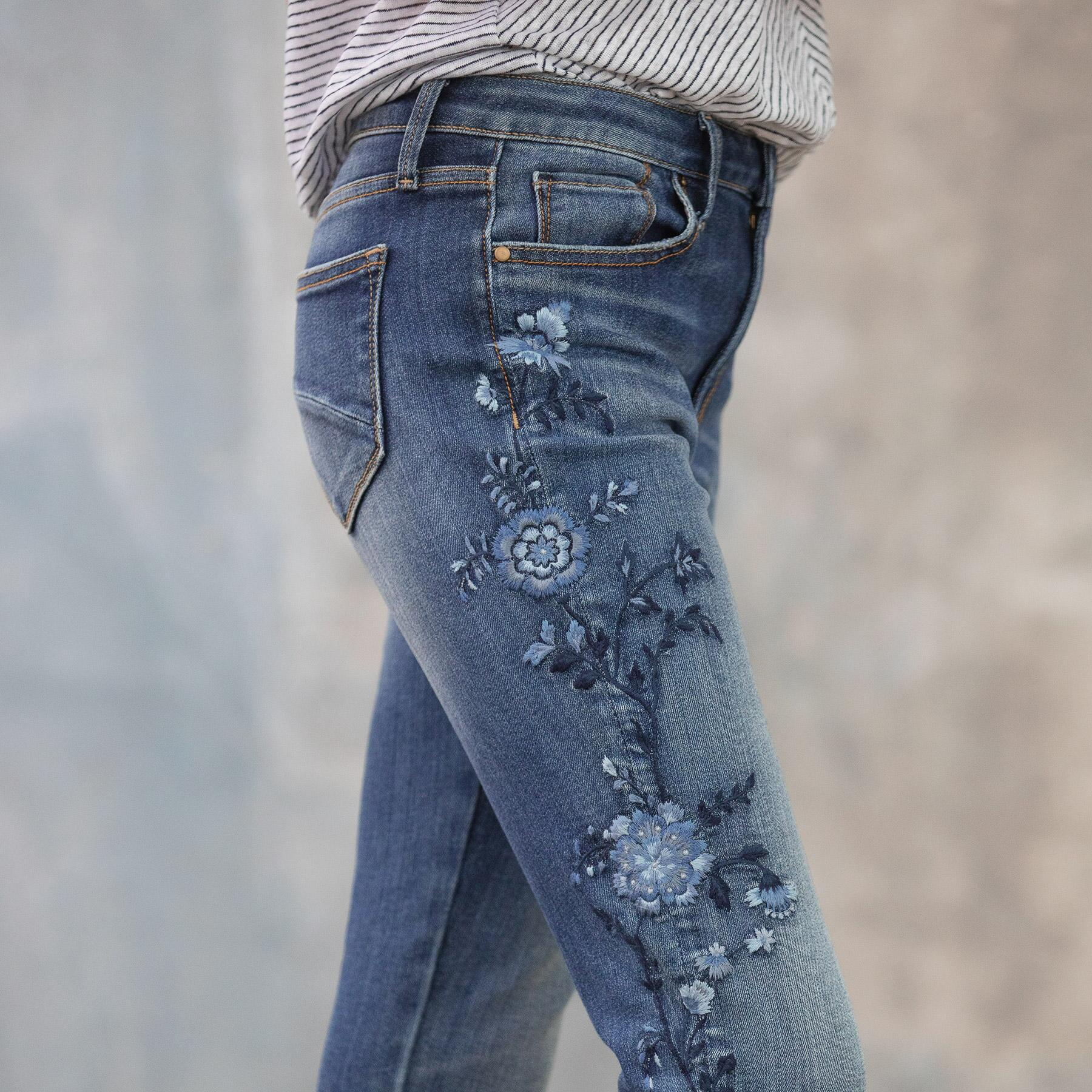JACKIE BLUE FLORAL HIGH RISE ANKLE JEANS: View 6