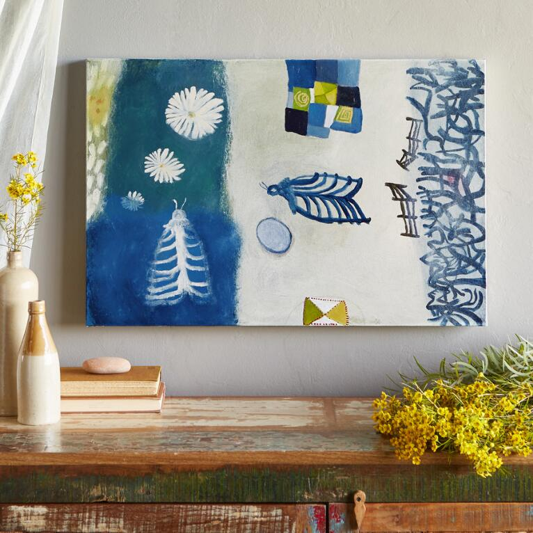QUILT BLOWING OVER GARDEN PAINTING