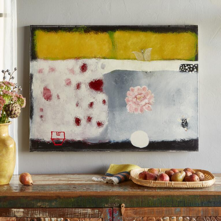 WHITE MOTH OUT OF PEONY GARDEN PAINTING