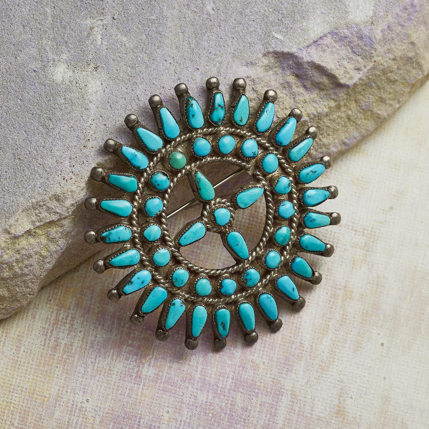 1960S MORENCI TURQUOISE PIN: View 1