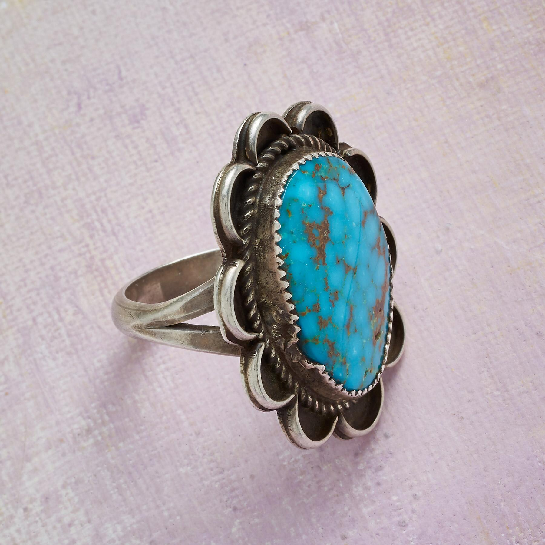 1970S TYRONE TURQUOISE RING: View 2