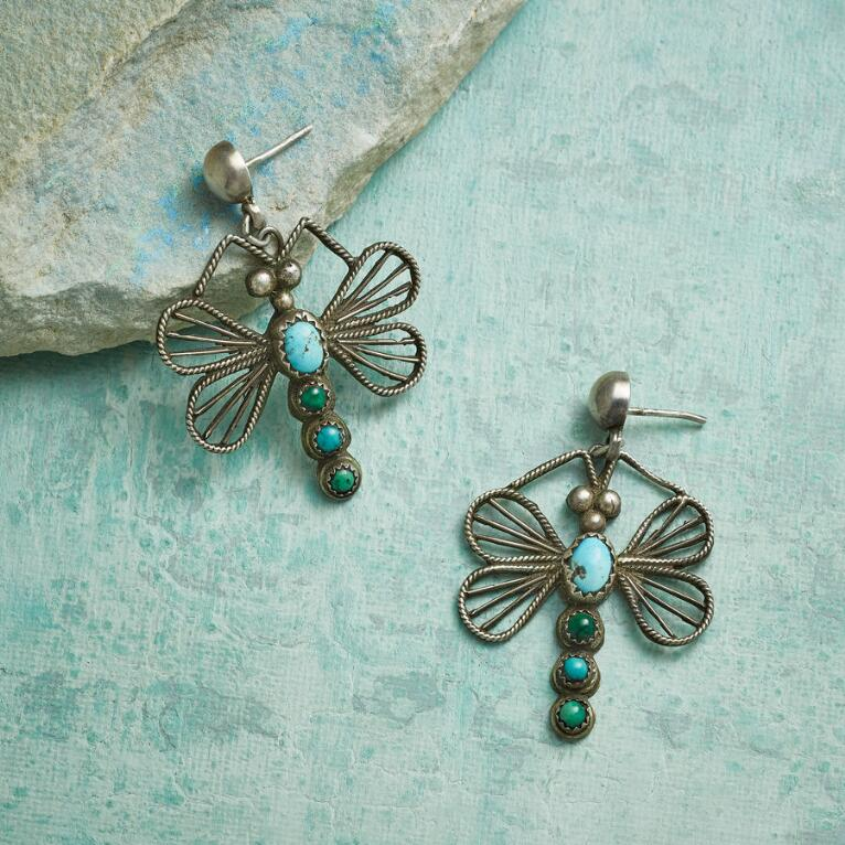 1970S FRANK VALDEZ DRAGONFLY EARRINGS