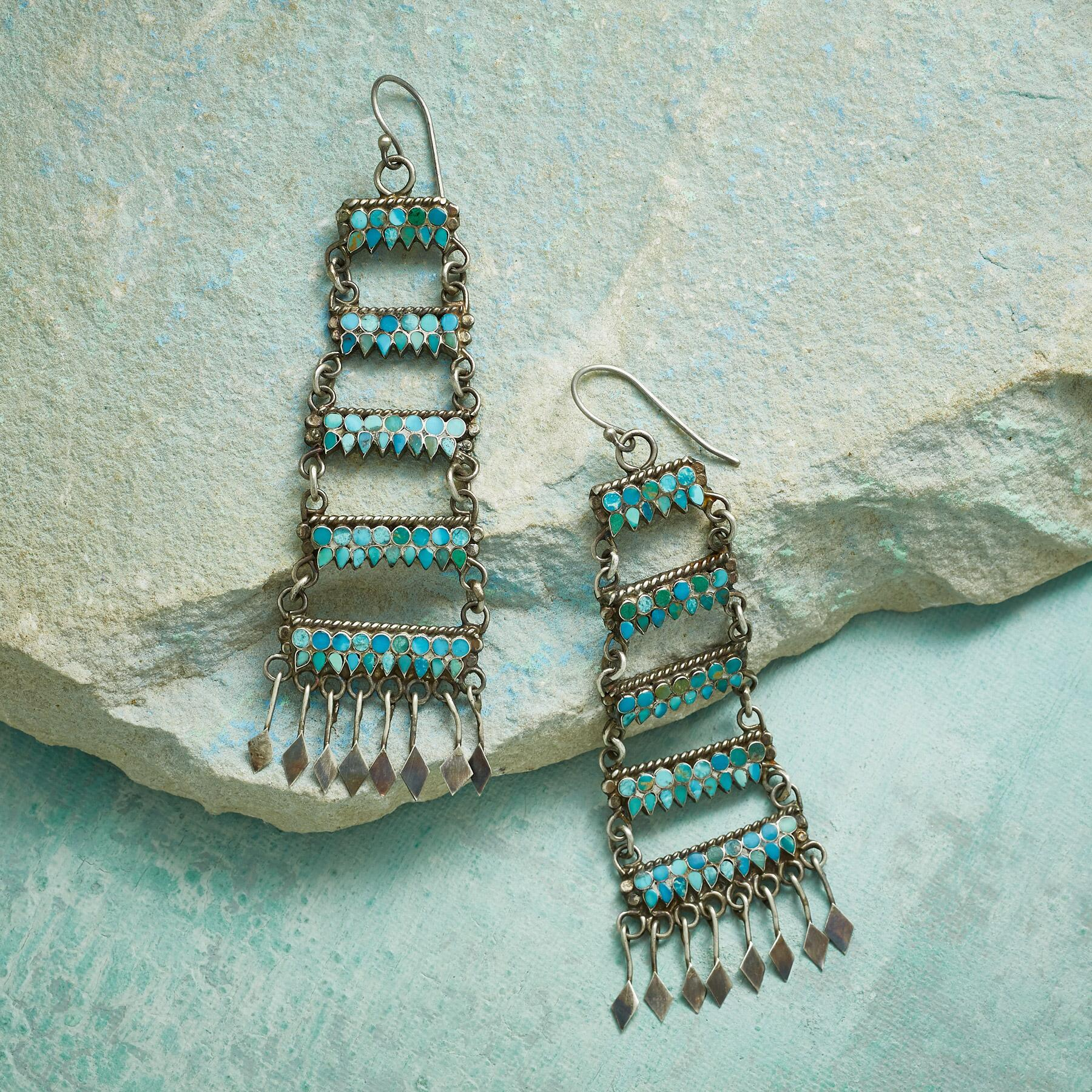 1970S ZUNI TURQUOISE EARRINGS: View 1