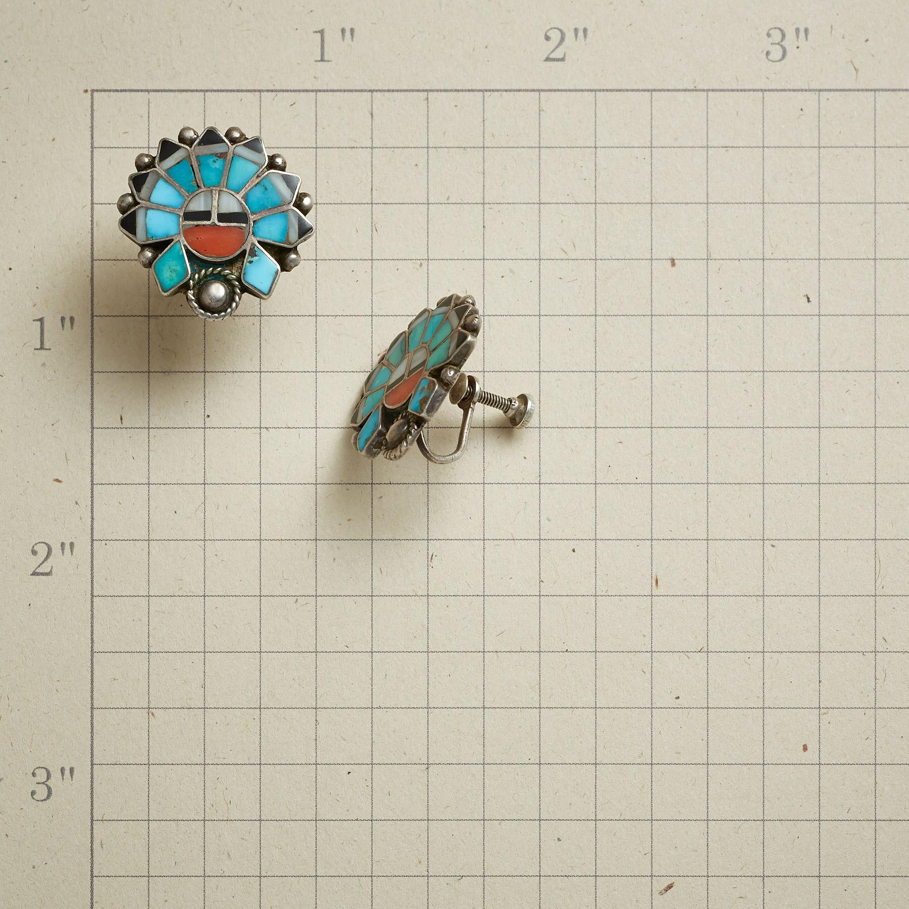 1950S TURQUOISE AND CORAL SUNFACE EARRINGS: View 2