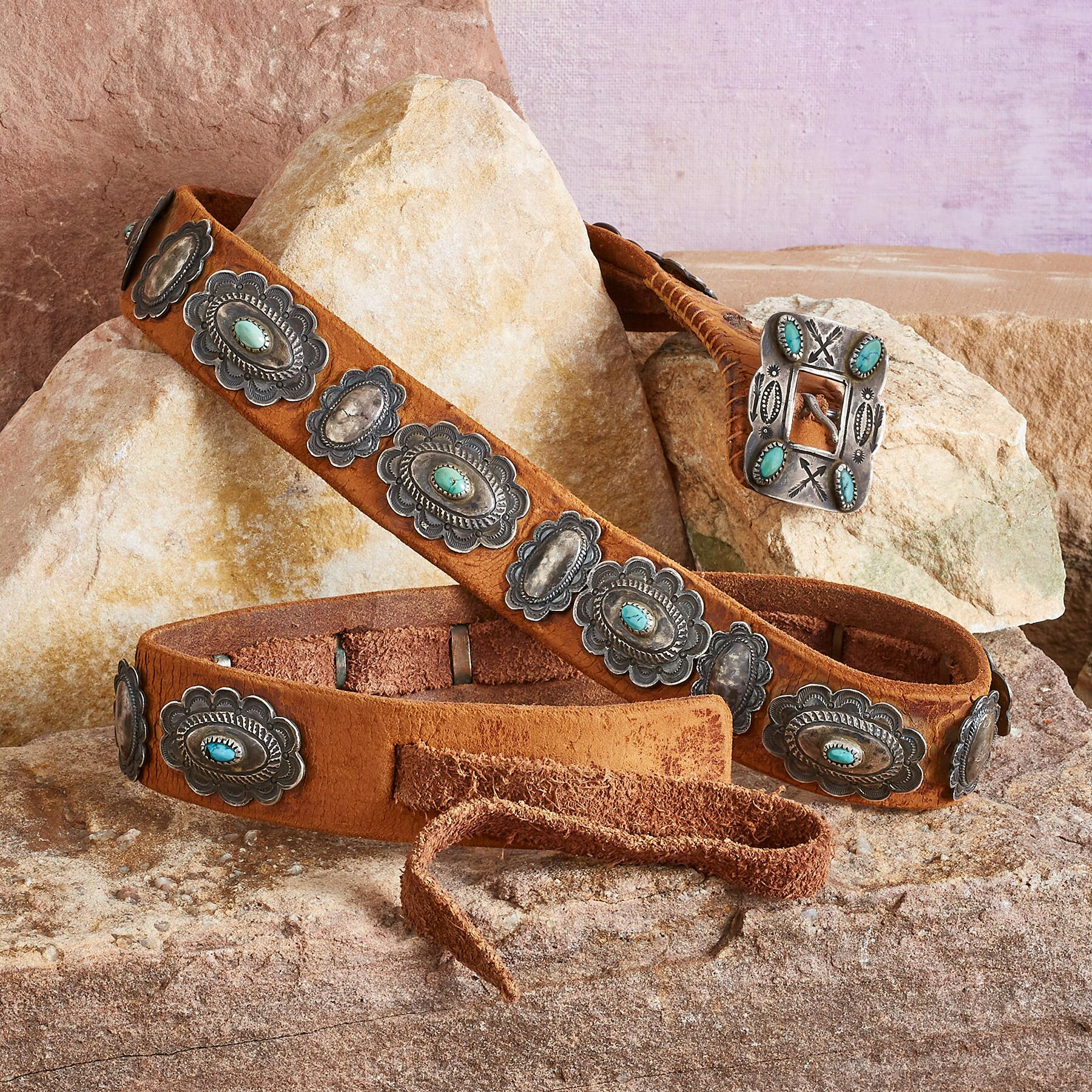 1930S TURQUOISE CONCHO BELT: View 1