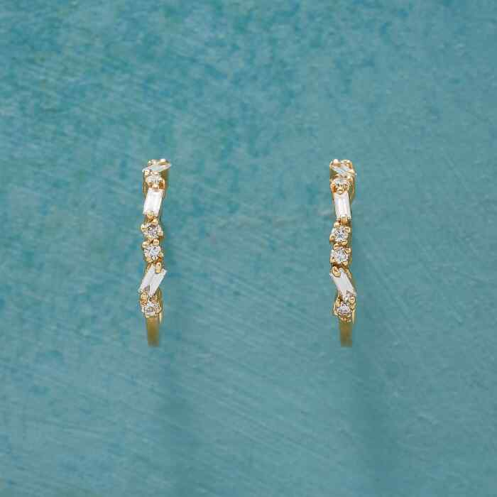 DIAMOND PATH HOOP EARRINGS