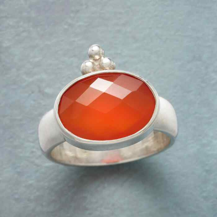 CROWNED RED ONYX RING