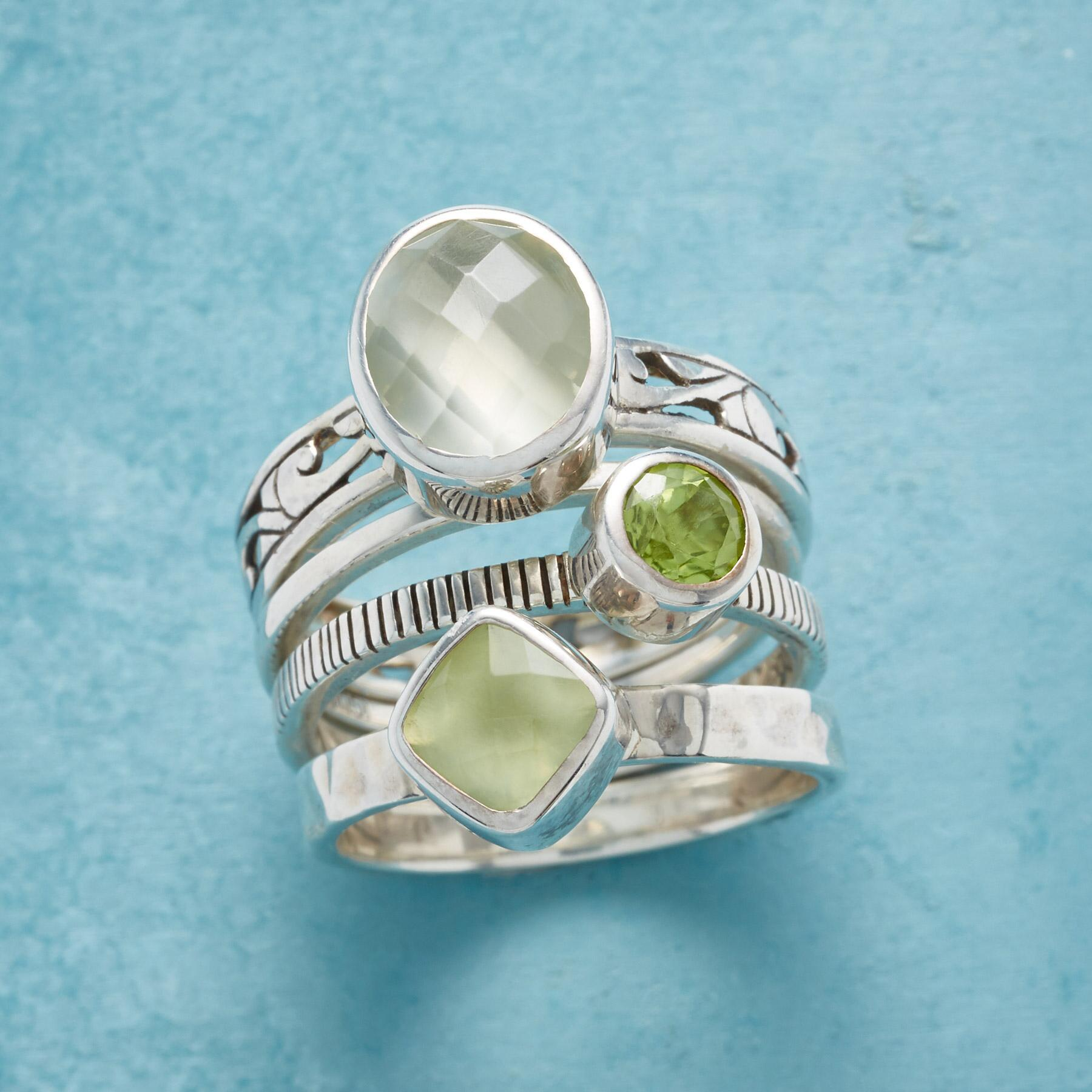 SEA OF GREEN STACKING RINGS, SET OF 4: View 1