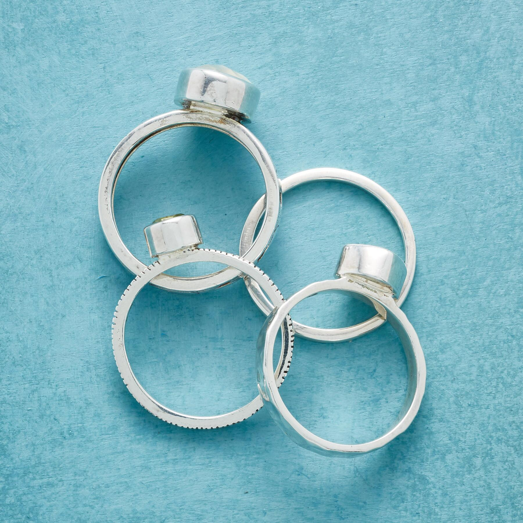 SEA OF GREEN STACKING RINGS, SET OF 4: View 2