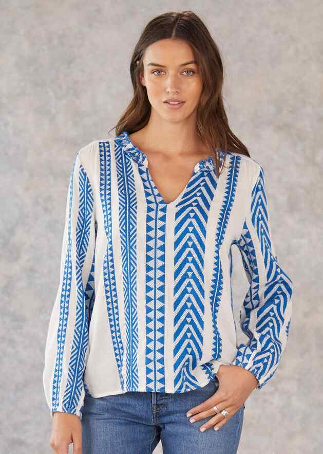 ISHA STRIPED JACQUARD TOP